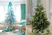 Коледна елха, която изглежда магично в синьо и зелено